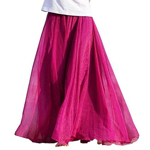 (OverDose Frauen Elastisches Taillen Chiffon Langes Maxi-Strand-Kleid Petticoat Vintage Retro Reifrock A-Linie Chiffon Unterrock Faschingskostüme Erwachsene(A-Hot pink ,Freie))