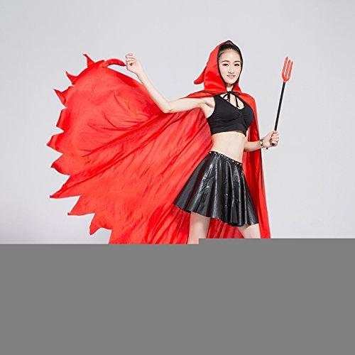 Halloween Halloween-Kostüm/Rote Teufel Anzug/Cape Horn/Vampir-Umhang-A (Ausgeburt Kostüm)