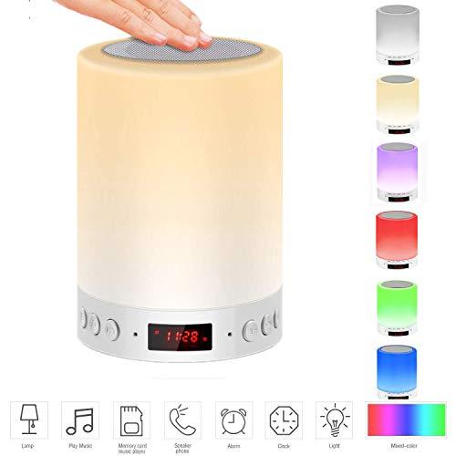 588528e0f85 Lámpara y Altavoz Bluetooth, TOPNOVO Altavoz bluetooth LED+Lámpara de mesa  con sensores táctiles+Multicolor Luz de noche+Reproductor de Música (PRO)