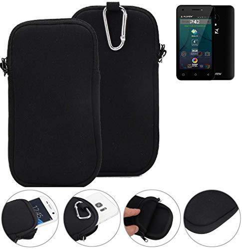K-S-Trade Neopren Hülle für Allview P42 Schutzhülle Neoprenhülle Sleeve Handyhülle Schutz Hülle Handy Gürtel Tasche Case Handytasche schwarz
