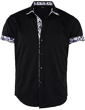 JEETOO Camicia Casual da Uomo Manica Corta Stampa Fiore