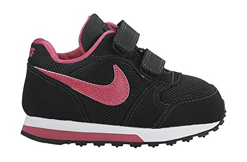Nike Mädchen Md Runner 2 Laufschuhe, Grau Negro / Rosa / Blanco (Black / Vivid Pink-White)