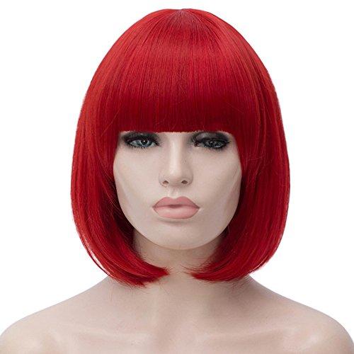 Milrüme Perücke Rot Kurze Bob Damen Haar Perücken Gerade mit Flach Pony Synthetische Bunte Cosplay Tägliche Party Perücke für Frauen Natürliche Wie Wig 12 Zoll 002F