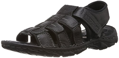 Red Tape Men's Black Leather Sandals & Floaters (RSS1491A 7) - 7 UK