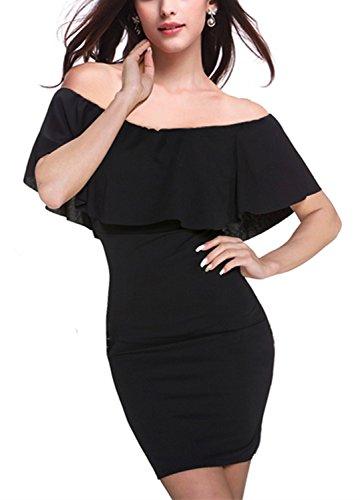 Monissy Femmes Robe Col Bateau Sans Manches Elégante Sexy Mini-Jupe Noir