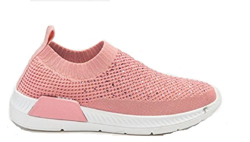 38c4ee1ad95 Koo-T Women's Ladies Trainers Size 3 4 5 6 7 8 Mesh/Knit Slip On Glitter  Soft Canvas (UK 5, Pink)