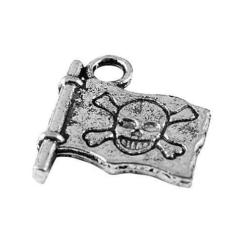 Paquet 15 x Argent Antique Tibétain 16mm Breloques Pendentif (Drapeau De Pirate) - (ZX08675) - Charming