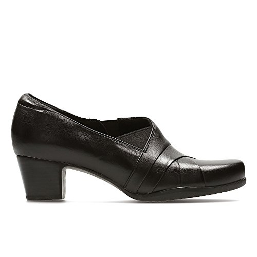 Clarks Women's Slip-On Block Heel Shoes Rosalyn Adele Black Leather
