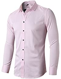 5c018a97d67 INFLATION Mens Bamboo Dress Shirt Slim Fit Long Sleeve Elastic Formal Shirt  Casual Solid Button Down