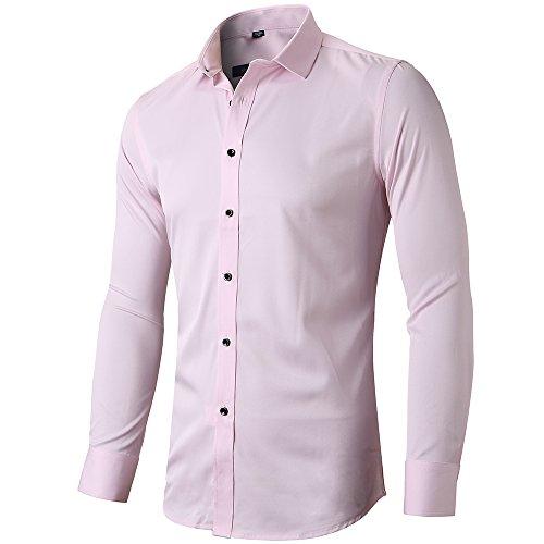 INFlATION Herren Hemd aus Bambusfaser umweltfreudlich Elastisch Slim Fit für Freizeit Business Hochzeit Reine Farbe Hemd Langarm,DE S (Etikette 40),Rosa