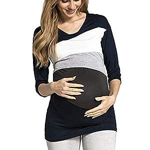 STRIR-Camiseta-De-Mujeres-Ropa-para-La-Lactancia-De-Maternidad-De-Raya-para-Mujeres-Las-Mujeres-Embarazadas-Maternidad-EnfermerA-Raya-Lactancia-Top-Camiseta-Blusa-XXXL-Blanco