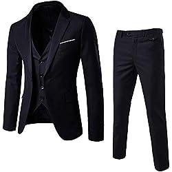 Traje Suit Hombre 3 Piezas Chaqueta Chaleco pantalón Traje al Estilo Occidental,Hombres Slim Blazer de Negocios de Boda Chaqueta de Fiesta Chaleco y Pantalones
