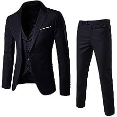Idea Regalo - Zolimx Abito Uomo 3 Pezzi, Blazer Uomo Abito Uomo Completo Blazer+Gilet+Pantaloni Slim Fit Elegante