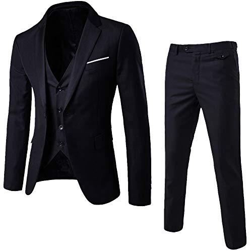 MORCHAN Costumes Slim Costume 3 pièces Blazer de soirée de Mariage Affaires Veste Veste et Pantalon(Large,Noir)