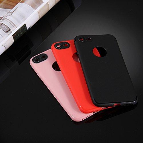 Für iPhone 7 Colorized Soft TPU Schutzmaßnahmen zurück Fall Deckung by diebelleu ( Color : Red ) Black
