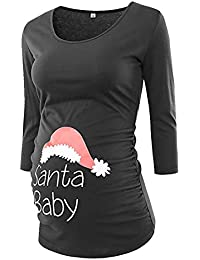 MCYs Schwangerschaftsshirt Santa Baby Weihnachten T-Shirt Mutterschafts Umstandsmode Umstandshirt Langarmshirt Tuniken Oberteile