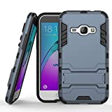 COOVY Funda para Samsung Galaxy J1 SM-J120 / SM-J120F / SM-J120F/DS (Model 2016) de plástico y Silicona TPU, extrafuerte, con protección contra Golpes, Funda con función Atril | Color Azul Marino