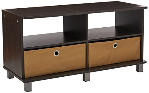 Furinno Laptoptisch 11156 GYW/BK Entertainment Center W/2 Schubladen, französische Eiche grau Abfalleimer, Espresso/Brown, 50 -