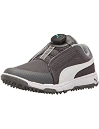 PUMA Golf Unisex-Kids Grip Sport Jr. Disc Golf Shoe, Quiet Shade White-Bluefish, 7 Medium Youth US Big Kid