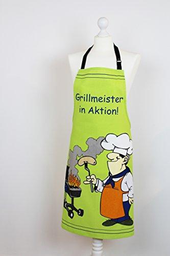 Grill - und Küchen - Serie -' GRILLMEISTER IN AKTION' - perfekt zum GRILLEN geeignet , Maschinen - waschbar bei 40 Grad - NEU aus dem KAMACA-SHOP (Schürze GRÜN 70 x 85 cm)