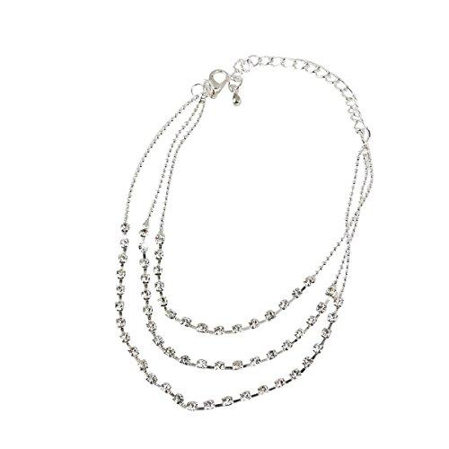Preisvergleich Produktbild TinkSky FASHION 3-Row Kristall Strass Dekor Metall Kette Damen Mädchen Fußkettchen (Silber)