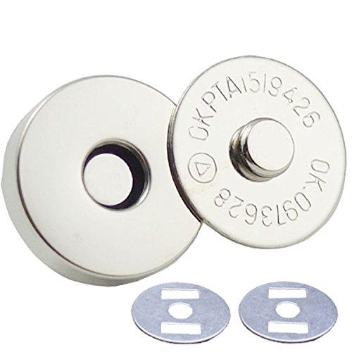 bluemoona 50Sets-Magnetisch Geldbörse rund Snap 3/10,2cm 18mm Verschlüsse Verschluss Handtasche mit Waschmaschine Nickle - Magnetische Snaps Geldbörse Verschlüsse