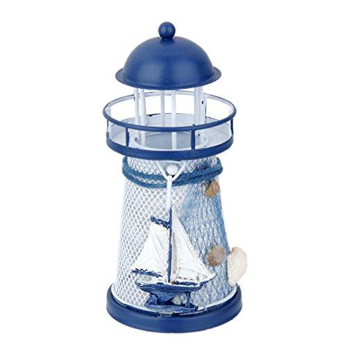 Homyl Metall Leuchtturm Strandlicht mit LED Beleuchtun, Kerzenhalter Seedekor Nautische Dekoration für Wohnzimmer #2 (Nautische Dekoration Für Wohnzimmer)