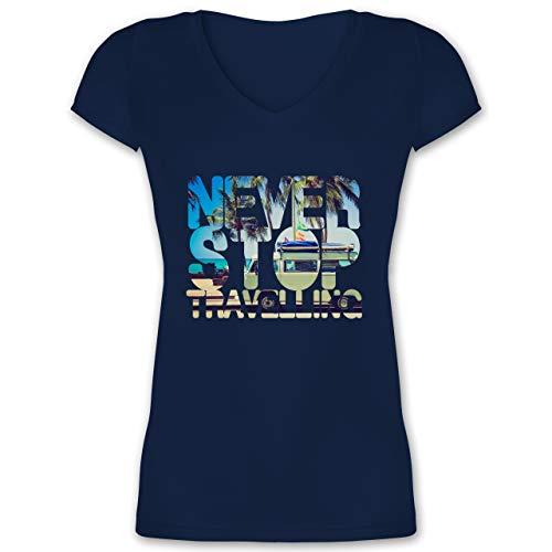 Statement Shirts - Never Stop Travelling Meer Palmen - 3XL - Dunkelblau - XO1525 - Damen T-Shirt mit V-Ausschnitt