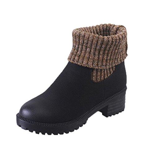 DOLDOA Damen bekleidung Damenschuhe,DOLDOA Gestrickte Nähen Kunstleder Chelsea boots Niedriger Blockabsatz Stiefel (EU: 39, Schwarz) (Snake Print Schnalle)