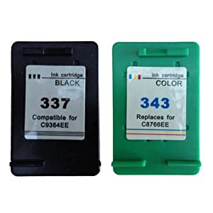 Ink Jungle 337 Black & 343 Colour Remanufactured Ink Cartridges For HP Photosmart 2570 2575 C4180 C4190 D5160 8050 Deskjet 5940 6940 6980 D4160 Officejet H470 H470b H470wbt 6310 6315 K7100 Printers