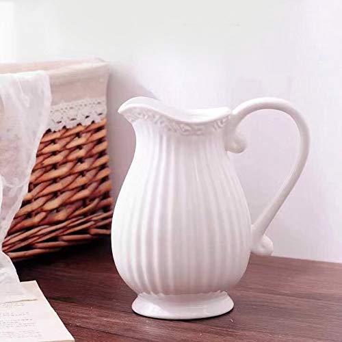 GMMH Pastel Krug Keramik Kanne Karaffe Milchkrug (Weiß) - Weiße Hohe, Keramik-krug