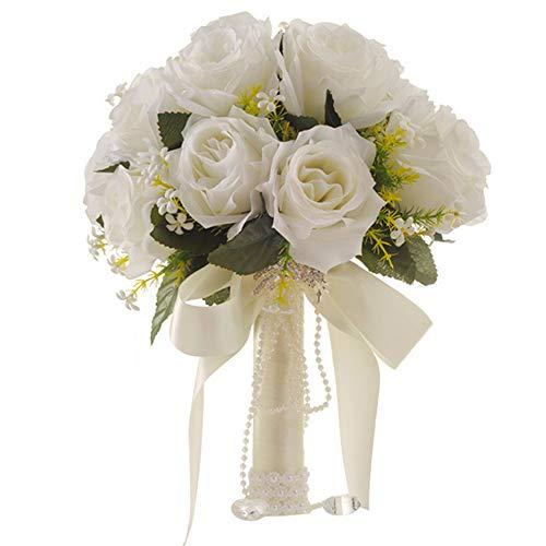 DAYOLY Brautstrauß weiß künstliche Rosen Blumen Hochzeit Blumenstrauß - Personalisierung Braut hält Blumenstrauß Hochzeit für Fotoshooting, Valentinstag, Geburtstag (Brautsträuße Burgund)