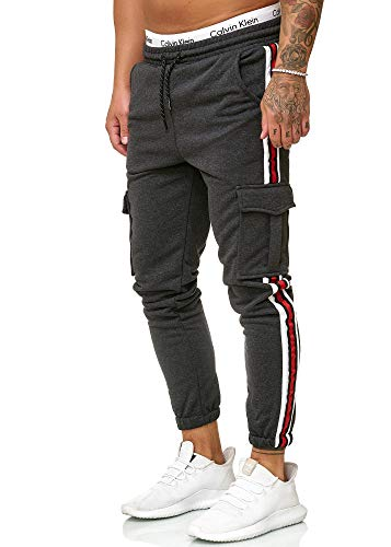 OneRedox Herren | Jogginghose | Trainingshose | Sport Fitness | Gym | Training | Slim Fit | Sweatpants Streifen | Jogging-Hose | Stripe Pants | Modell 1224 Antra XL