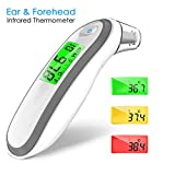 Thermometer,Hizek 2 in 1 Forehead and Ear Thermometer with Instant Reading,Fever Warning,Memory Function,Clinical