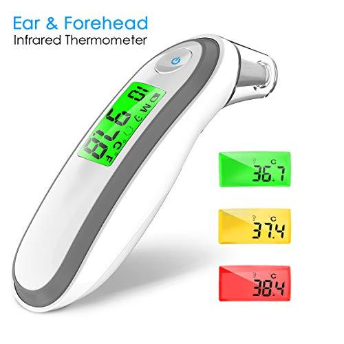Ohrthermometer Fieberthermometer Stirnthermometer, Hizek 3 IN 1 Digital Infrarot Thermometer für Baby, Kinder, Erwachsene, mit Sofortiges Lesen, Speicherfunktion, Fieberwarnung