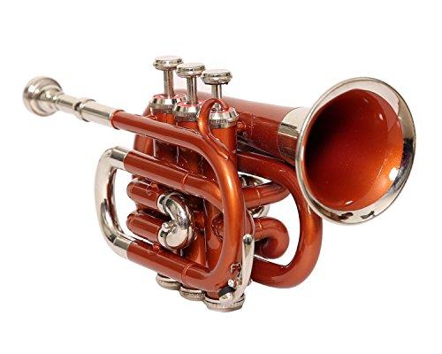 King Music Bb PITCH - Tromba tascabile con custodia rigida e borsa, colore: Arancione + NICKEL colore di NASIR ALI