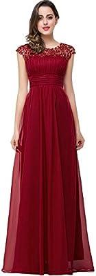 Babyonlinedress Vestido largo de fiesta para bodas vestido ligero estilo elegante trapecio y A line cuello redondo sin mangas sin espalda cintura alta