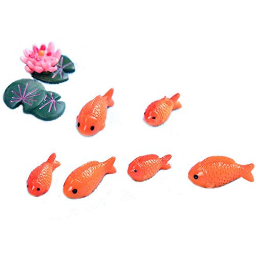 REFURBISHHOUSE 8Pzs / Lot Miniature Figures Red Fish Mini Fairy Decorative Garden Animals Ornaments Micro-Landscape Moss Resin Toy for Baby