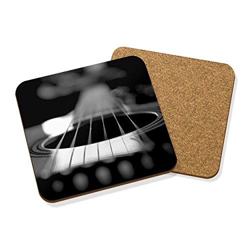 Imagen de  acústica cuerdas posavasos posavasos corcho cuadrado set x4  música negro rock