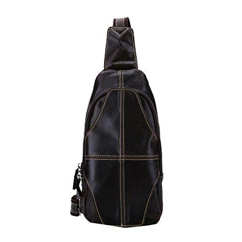 Yy.f Neue Lederbrusttasche Für Männer Casual Mode-Taschen Öl Wachs Leder Umhängetasche Kuh Tasche Mann Tasche Fester Beutel Farbe 2 Brown