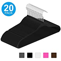 IEOKE Velvet Hangers, Non Slip Clothes Hangers Heavy Duty 360 Swivel Hanger Hook Ultra Thin Clothes Racks Perfect for Space Saving-20 PACK (Brown)