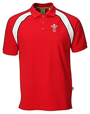 WRU Welsh Rugby Union Contrast Polo Shirt by Official Welsh Rugby Union