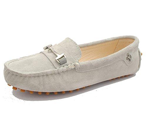 Minitoo yb960–15da donna comoda Slip-on scarpe in pelle scamosciata Mocassino Loafer Grey