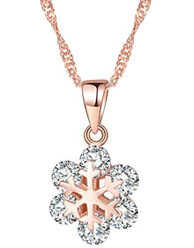 Yumilok Roségold 925 Sterling Silber Zirkonia Elegant Schneeflocke Anhänger Halskette Kette mit Anhänger für Damen Mädchen