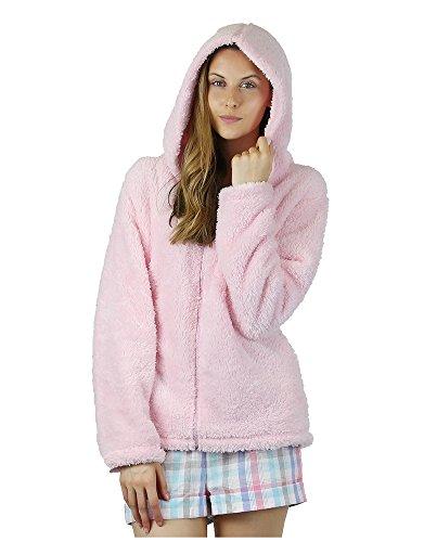 - 41jxeggZipL - FOREVER DREAMING Ladies Womens Snuggle Top Hoodie Full Zip Fleece Super Soft