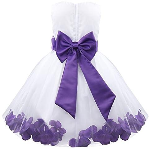 TiaoBug Girls Kids Summer Flower Petals Tulle Formal Wedding Pageant Party Princess Dress 3 Years Purple