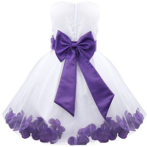 TiaoBug Kids Bowknot Petals Flower Girl Dress Princess Wedding Pageant Christening Gown Formal Party Dress