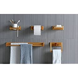 5piezas de juego de accesorios de baño–efecto de madera de roble.