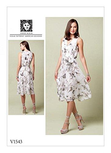 Vogue Damen Schnittmuster 1543gefüttert Kleid V-Ausschnitt & selbst Gürtel (Klein Damen Gürtel Anne)