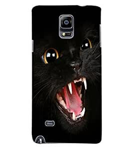 ColourCraft Black Cat Design Back Case Cover for SAMSUNG GALAXY NOTE 4